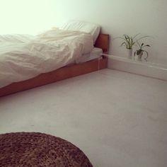 a clear nightstand. modern. simple. minimalist