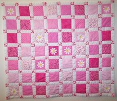 ,, ^ . . ^,, Handmade Nursery Girl's Pink Patchwork with Appliqued Daisies
