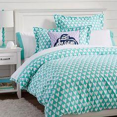 Sweethearts Flannel Duvet Cover + Sham, Pool #pbteen