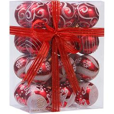 Sea Team 60mm236 Delicate Painting  Glittering Shatterproof Christmas Ball Ornaments Decorative Hanging Christmas Ornaments Baubles Set for Xmas Tree  24 Counts Red >>> You can get additional details at the image link. (This is an affiliate link)