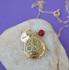 Gold Initial and Gold Locket Necklace by SeaSaltShop on Etsy, $24.00