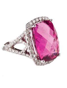 Diamond pink tourmaline ring with diamond encrusted setting