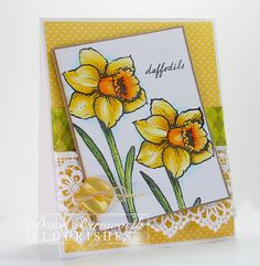 For this week Flourishes had a Friday Focus and all of the ladies were challenged to use an older stamp from Flourishes called Signs of Spring. Dawn Burnwoth created this vibrantly beautiful yellow card. She colored her image using Flourishes Copic Collection Sets in Evergreen, Daffodil, and Poppy. Be sure to check out her blog for more details.