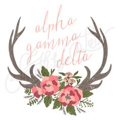 Sorority Recruitment Alpha Gamma Delta Deer Antlers Floral South By Sea