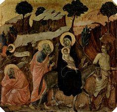 Duccio di Buoninsegna: Maestà, Altarretabel des Sieneser Doms, Vorderseite, Predella mit Szenen aus der Kindheit Jesu und Propheten, Szene: Flucht nach Ägypten