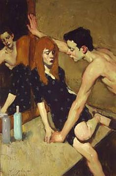 """MALCOLM T. LIEPKE - Couple at the mirror - Oil on canvas, 24"""" x 34""""."""