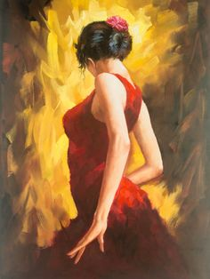 Flamenco Dancer - Original Oil Painting - x Mounted Dance Paintings, Cool Paintings, Beautiful Paintings, Fernando Lopez, Spanish Dancer, Mexican Art, Dance Art, Painting Inspiration, Female Art