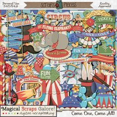 """Ladies and Gentlemen, step right up for the greatest kit in town! Created in a fun color palette and with traditional circus patterns such as stripes, bursts and stars, Come One, Come All by Magical Scraps Galore is filled with everything circus, from a """"big top"""" tent and admission tickets, to juggling clubs, caramel apples, a magician hat and wand, even the famous flying elephant and the barnstormer, among many other fabulous themed goodies!"""