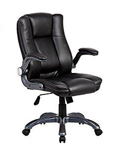 Anji Ergonomic Big and Tall High Back Thick Padded Black Bonded Leather Executive Office Chair with Flip up Arms and Headrest