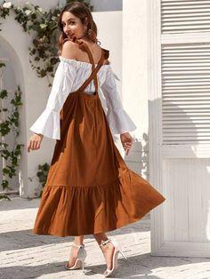 Ruffle Trim High Waist Overall Dress Modest Fashion, Skirt Fashion, Hijab Fashion, Fashion Dresses, Muslim Fashion, Diy Fashion, Vintage Fashion, Fashion Tips, Trendy Dresses