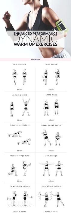 Warm up your entire body at home with these dynamic warm up exercises. Raise your heart rate and prepare your body and joints for the workout! Exercise Fitness, Excercise, Fitness Tips, Exercise Workouts, Aerobic Exercises, Stretching Exercises, Fitness Motivation, Dynamic Warm Up, Warm Up Routine