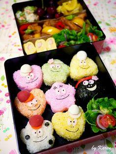 barba papa family bento Japanese Bento Box, Japanese Food Art, Kawaii Bento, Cute Bento, Amazing Food Art, Incredible Edibles, Sushi Lunch, Bento Box Lunch, Bento Recipes