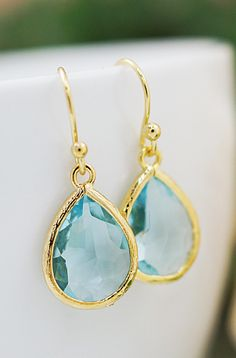 Aquamarine Glass drops dangle earrings