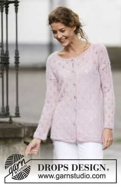 Sweet Bliss knitted lace cardigan, free pattern from Garnstudio