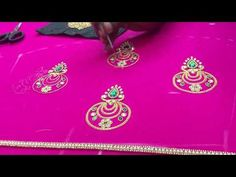 Making of checks pattern sleeves with pearls and Beads - Maggam work making video
