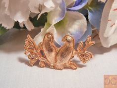 Lovebird Parrot Brooch Small Goldtone Tropical by CandyAppleCrafts