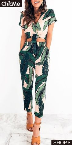 987fdeba41c Tropical Print Knotted Top With Pants Set. Chic Me