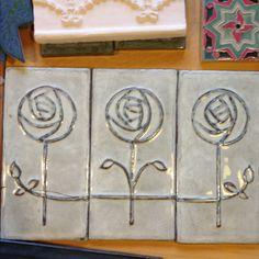Glasgow rose handmade tile