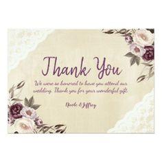 Deep Purple Peonies Floral Wedding Thank You Card - wedding thank you gifts cards stamps postcards marriage thankyou Invitation Card Design, Floral Invitation, Wedding Invitation Cards, Wedding Cards, Our Wedding, Invitation Ideas, Rustic Wedding, Purple Wedding, Floral Wedding