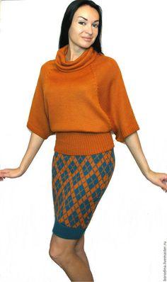 """Костюмы ручной работы. Ярмарка Мастеров - ручная работа. Купить Костюм """"Служебный роман"""". Handmade. Рыжий, морской волны, кимоно Knitting Stitches, Baby Knitting, Knitting Patterns, Knit World, Knit Baby Dress, Crochet Skirts, Girl Fashion, Womens Fashion, Dress For Success"""