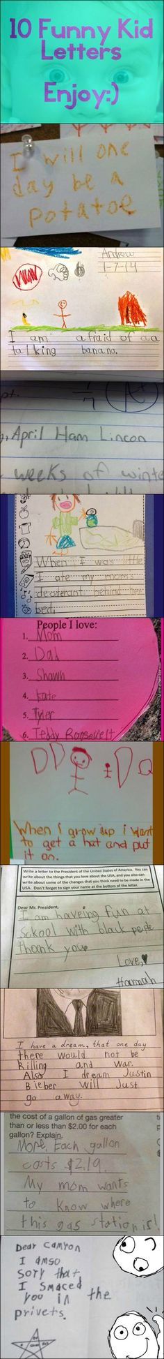 10 letters from little kids. Funny!