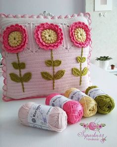 Crochet cushion cover, handmade cover in cotton and natura Crochet Squares Afghan, Granny Square Crochet Pattern, Crochet Motif, Crochet Designs, Crochet Flowers, Crochet Blocks, Afghan Patterns, Square Patterns, Paper Crafting