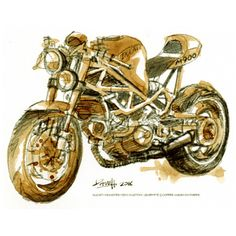 Dave Hendroff The Artisan Store Fremantle DUCATI MONSTER M900 CUSTOM A5 Print Sketched with Coffee Wash & Graphite on paper.