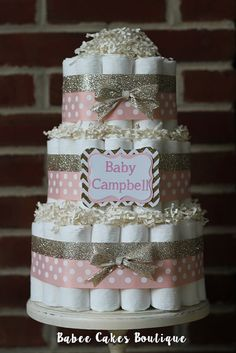 3 Tier Blush Pink and Gold Diaper Cake by BabeeCakesBoutique