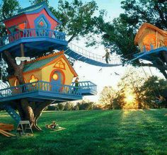 Colorful Treehouses in Vermont---The whole family could live here!  ;-)