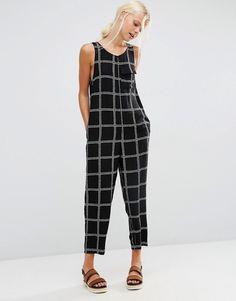 Image 1 ofASOS Minimal Jumpsuit in Rope Check Print