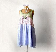 Image of 100% Linen Dress Floral Sundress Country Rustic Shabby Chic Clothing Loose Knee Length Babydoll M