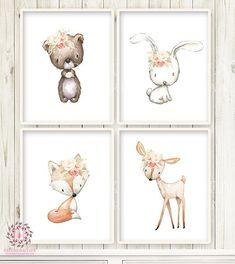 Deer Fox Bunny Rabbit Bear Wall Art Print Nursery Boho Woodland Lace Blush Rose Bohemian Floral Baby Girl Room Set Lot Prints Printable Decor