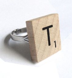 My husband asked me to marry him on a Scrabble board, so this would be perfect for me. Scrabble Letter Crafts, Scrabble Letters, Scrabble Tiles, Words With Friends, Letter T, Creative Gifts, Vintage Rings, Jewelry Crafts, Bracelets