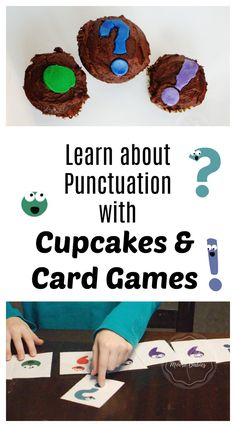 A simple printable card game merges perfectly with the book Semicolons, Cupcakes, and Cucumbers to help kids remember basic punctuation. Top it all off with fun, filled, punctuation cupcakes to demonstrate the way punctuation marks work!
