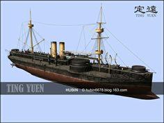Chinese battleship/ironclad ting yuen  flagship of the beiyang fleet