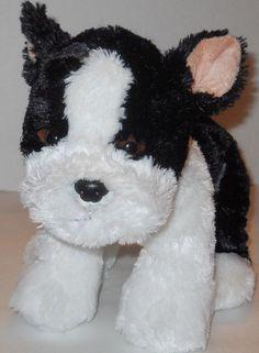 "Boston Terrier 11"" Plush Stuffed Animal Puppy JooJoo Black White Plastic Eyes #JooJoo"