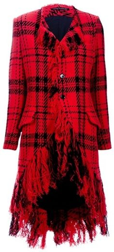 YOJI YAMAMOTO Tartan Fringe Coat - Red !  Now red heels or red boots and black skirt or black skinny leather pants and WOW