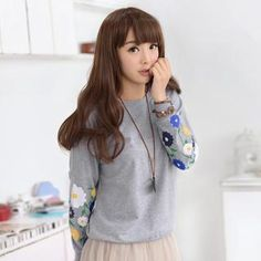 Gray L  Buy '59 Seconds – Floral Print-Sleeve Pullover' with  Free International Shipping at YesStyle.com. Browse and shop for thousands of Asian fashion items from Hong Kong and more!