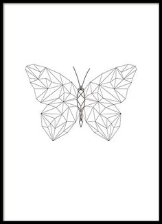 Beautiful poster with butterfly in geometric shapes - Origami Tattoo - Tattoos Origami Tattoo, Butterfly Drawing, Butterfly Print, Butterfly Design, Geometric Tattoo Butterfly, Geometric Tattoos, Geometric Drawing, Geometric Shapes, Geometric Poster