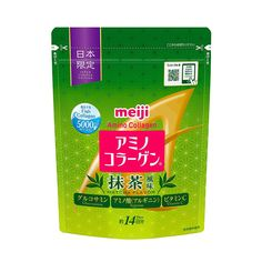 The post MEIJI Amino Collagen Plus Matcha 98g for 14 Days – Made in Japan appeared first on TAKASKI.COM. MEIJI Amino Collagen Plus Matcha consists of 100% low-molecular fish collagen. Its collagen powder is easily absorbed by the body, at rates 1.5 times greater than pig-skin collagen.Amino Collagen uses 100% fish collagen and is broken down into molecular peptides for ready absorption by the body.Meiji's unique new manufacturing process results in a new type of collagen with much lower  Japanese Green Tea Matcha, Matcha Green Tea, Japan Country, Collagen Powder, Gum Arabic, Calcium Carbonate, Nutrition Information, Japanese Beauty, Vitamins