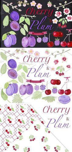 CHERRY & PLUM set clipart, patterns. Wedding Card Templates
