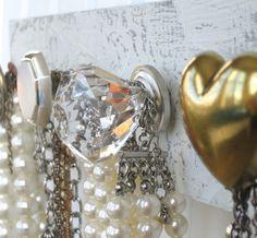 Back to School / Dorm Decor / Jewelry Organization / Silver and Gold Jewelry Rack