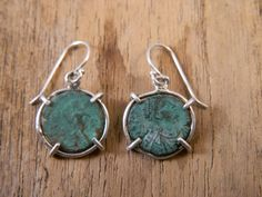 Ancient Coin Earrings     sterling silver roman bronze coins handmade art jewelry dangle simple verdigris patina antique old coinage ~ Sass and Wiggle on Etsy
