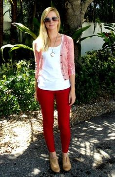 Simple and cute! red jeans