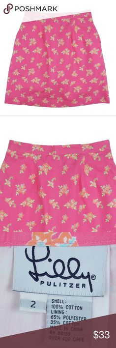 "LILLY PULITZER Vintage Pink Floral Skirt Size -  2  This pink floral skirt from LILLY PULITZER (vintage Lilly) is in excellent condition. It features a zip up closure and is fully lined. Made of 100% Cotton.  Measures: Waist: 24"" Hips: 36"" Total Length: 18.5"" Lilly Pulitzer Skirts"
