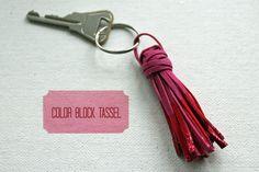 DIY Color Block Tassel Key Chain