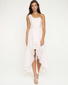 Chiffon & Lace One Shoulder Gown - A cascading layer of chiffon creates a stunning effect on this one shoulder gown.
