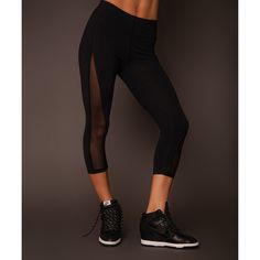 SychoFit Black Not So Basic Crop Leggings (45 CAD) ❤ liked on Polyvore featuring pants, leggings, crop pants, mesh cutout leggings, cut out pants, cropped leggings and cut-out pants