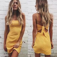 Solid Color Back Tie Midi Dress Casual off Sale Free Exchange simple back cutout dress yellow back tie dresses short sundress solid color spaghetti strap sundress for summer The post Solid Color Back Tie Midi Dress Casual appeared first on Summer Ideas. Backless Maxi Dresses, Sexy Dresses, Cute Dresses, Dresses 2016, Floral Dresses, Elegant Dresses, Vintage Dresses, Bodycon Dress, Prom Dresses