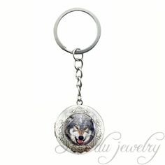 2017 Style Newest Rhodium Plated Locket Pendant Animal Keychain Vintage Cool Snarl Wolf Picture Glass Cabochon Locket Key Chains